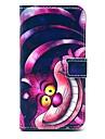 modèle frais de bande dessinée de chat en cuir PU cas de tout le corps avec fente pour carte pour les samsung galaxy i9600