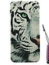 moitié motif léopard visage de neige étui rigide&Stylet pour iPhone 4 / 4s