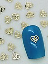 200pcs design unico coracao oco metal dourado arte fatia decoracao de unhas
