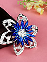 Fashion Retro Popular Korean Flower Shape Multicolor Alloy Rhinestone Brooches(1 Pc)(Red,Blue)