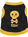 Gato Cachorro Camiseta Roupas para Caes Respiravel Caveiras Coracoes Preto Amarelo Azul Preto/Amarelo Ocasioes Especiais Para animais de