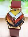 vintage fleur des femmes en or rose composer PU bande de montre-bracelet à quartz analogique (couleurs assorties)