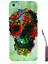 Flower Skull Pattern Hard Case & Touch Pen for iPhone 5/5S
