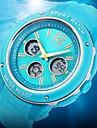 Mulheres Relógio Esportivo Quartzo Quartzo Japonês LCD Calendário Cronógrafo Impermeável Dois Fusos Horários alarme Borracha BandaBranco