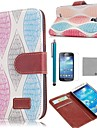 COCO FUN® Retro Colorful Leaf Pattern PU Leather Case with Screen Protecter and Stylus for Samsung Galaxy S4 Mini i9190