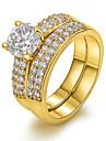 Женский Массивные кольца европейский бижутерия Циркон Медь 18K золото Искусственный бриллиант Бижутерия Назначение Для вечеринок
