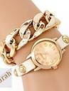 De gepersonaliseerde gift vrouwen twee-layer wrap pu lederen armband analoge gegraveerd horloge met strass
