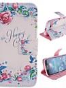 Para Samsung Galaxy Capinhas Carteira / Porta-Cartão / Com Suporte / Flip / Estampada Capinha Corpo Inteiro Capinha Flor Couro PU Samsung