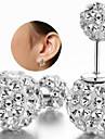 Mulheres Brincos Curtos Clássico Prata de Lei Strass Imitações de Diamante Jóias Casamento Festa Diário Casual