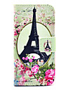 COCO FUN® Rose Flower Eiffel Pattern PU Leather Full Body Case with Screen Protector for iPhone 5C