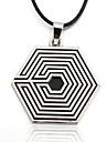 Men's Zinc Alloy Gossip A Maze Black Rope Necklace  Pendant