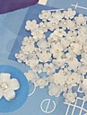 10PCS White Cabochon Flatback Resin Flowers With Rhinestone Handmade DIY Craft Material