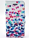 Coco fun® padrao de coracao colorido estojo de couro pu com protetor de tela e cabo USB e caneta para iPhone 4 / 4S