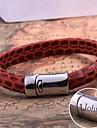joyeria de cuero regalo personalizado de acero inoxidable pulsera de cuerda grabado