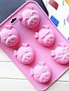 6 отверстий свинья форма лица торт плесень