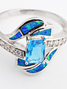 High Quality Fashion Platinum Blue Opal Water Ring