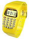 아동 패션 시계 디지털 시계 손목 시계 석영 디지털 밴드 캔디 노란색