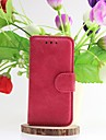For iPhone 5 Case Wallet / Card Holder / with Stand / Flip Case Full Body Case Solid Color Hard Genuine Leather iPhone SE/5s/5