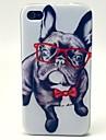 teste padrão do cão óculos TPU macio para iPhone 4 / 4S