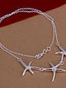 plaque mode trois etoiles de mer forme collier pendentif en argent (blanc) (1pc)