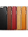 Etui Til Apple iPhone 6 iPhone 6 Plus Flip Fuldt etui Helfarve Hårdt ægte læder for iPhone 6s Plus iPhone 6s iPhone 6 Plus iPhone 6