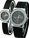Couple's Causal Style Round Dial Black Rubber Band Quartz Wrist Watch Cool Watches Unique Watches Fashion Watch Strap Watch