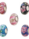 Diy Beads Metal/Glass Flower Tube Shape Large Hole Beads 1Pcs(Random Pattern)