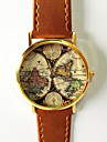 Dames Modieus horloge Kwarts World Map Patroon PU Band Vintage World Map Patroon Zwart Bruin