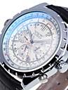 남성용 손목 시계 기계식 시계 오토메틱 셀프-윈딩 달력 가죽 밴드 아날로그 블랙 - 블랙과 화이트