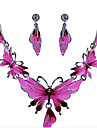 Jewelry Set - Rose Gold Plated Flower, Butterfly, Animal Statement, Vintage, Party Include Dark Pink For Party Special Occasion Anniversary / Earrings / Necklace