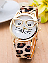 Women\'s Quartz Wrist Watch / Casual Watch PU Band Casual Leopard Cat Fashion Black White Brown