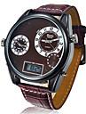 Oulm Муж. Армейские часы Наручные часы Кварцевый Японский кварц LCD Календарь С тремя часовыми поясами Кожа Группа Черный Красный