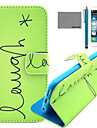 COCO FUN® Green English Pattern PU Leather Case with Screen Protector and USB Cable and Stylus for iPhone 6/6S
