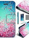 rouge coco ciel Fun® motif floral étui en cuir PU avec protecteur d'écran et un câble USB et un stylet pour iPhone 5 / 5s