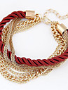 Hand Woven Multilayer Alloy/Fabric Charm Bracelets  (More Color)1pc