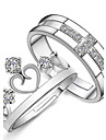 Women\'s Couple Rings - Sterling Silver, Crystal, Rhinestone Cross, Heart, Crown Fashion Adjustable Silver For Gift / Daily / Casual