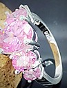 925 Silver Plated Pink Crystal Statement Rings Wedding/Party/Daily/Casual 1p