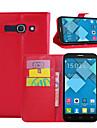 케이스 제품 Alcatel 알카텔 카드 홀더 지갑 스탠드 플립 전체 바디 케이스 한 색상 하드 PU 가죽 용