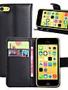 luxo pu caso da aleta de couro capa para o saco maçã iphone 5c telefone carteira (cores sortidas)