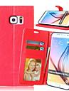 Кейс для Назначение SSamsung Galaxy Кейс для  Samsung Galaxy Бумажник для карт Кошелек со стендом Флип Чехол Сплошной цвет Кожа PU для S6