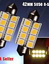 2шт теплый белый 578 211-2 42mm гирлянда 5050 8-SMD купол карту ствол Светодиодные лампы