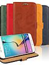 Кейс для Назначение SSamsung Galaxy Кейс для  Samsung Galaxy Бумажник для карт со стендом Флип Чехол Сплошной цвет Кожа PU для S6 edge S6