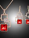 Κοσμήματα Σετ - Cubic Zirconia, Με Επίστρωση Ροζ Χρυσού, Προσομειωμένο διαμάντι Cruce Πάρτι Περιλαμβάνω Κόκκινο Για / Cercei / Κολιέ