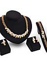 Femme Zircon Or 18 Carats Ensemble de bijoux Bracelet Boucles d\'oreille Colliers decoratif Bague - Retro Mignon Soiree Travail