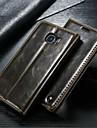 Pour Samsung Galaxy Coque Portefeuille Porte Carte Avec Support Clapet Coque Coque Integrale Coque Couleur Pleine Vrai Cuir pour Samsung