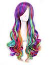 Femme Perruque Synthetique Sans bonnet Frises Arc-en-ciel Cheveux Colores Perruque Lolita Perruque Halloween Perruque de carnaval