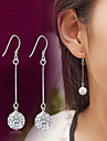 Lureme®  Korean Fashion 925  Sterling Silver Studded With Drill Shambhala Tassels Earrings