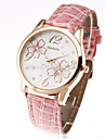 Femme Quartz Montre Bracelet Montre Decontractee Cuir Bande Fleur Decontracte Mode Noir Blanc Rouge Marron Rose