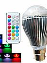 500lm B22 Bombillas LED de Globo A60(A19) 3 Cuentas LED LED de Alta Potencia Regulable / Control Remoto / Decorativa RGB 100-240V / Canas