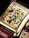 남성 손목 시계 기계식 시계 메카니컬 메뉴얼-윈딩 중공 판화 가죽 밴드 럭셔리 블랙 브라운